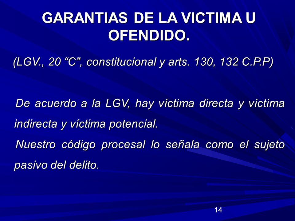 GARANTIAS DE LA VICTIMA U OFENDIDO.