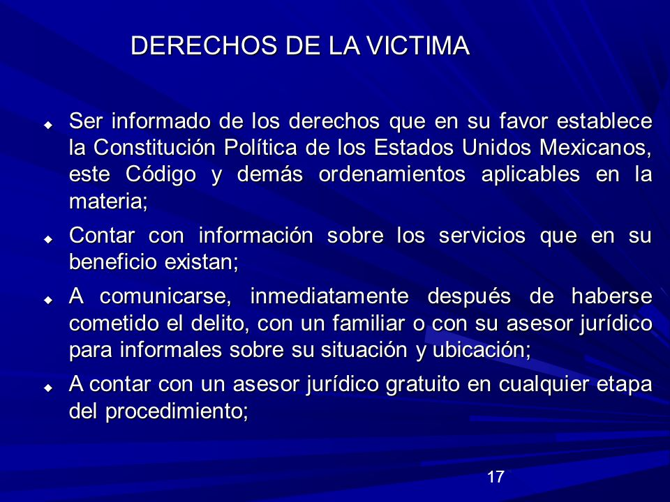 DERECHOS DE LA VICTIMA