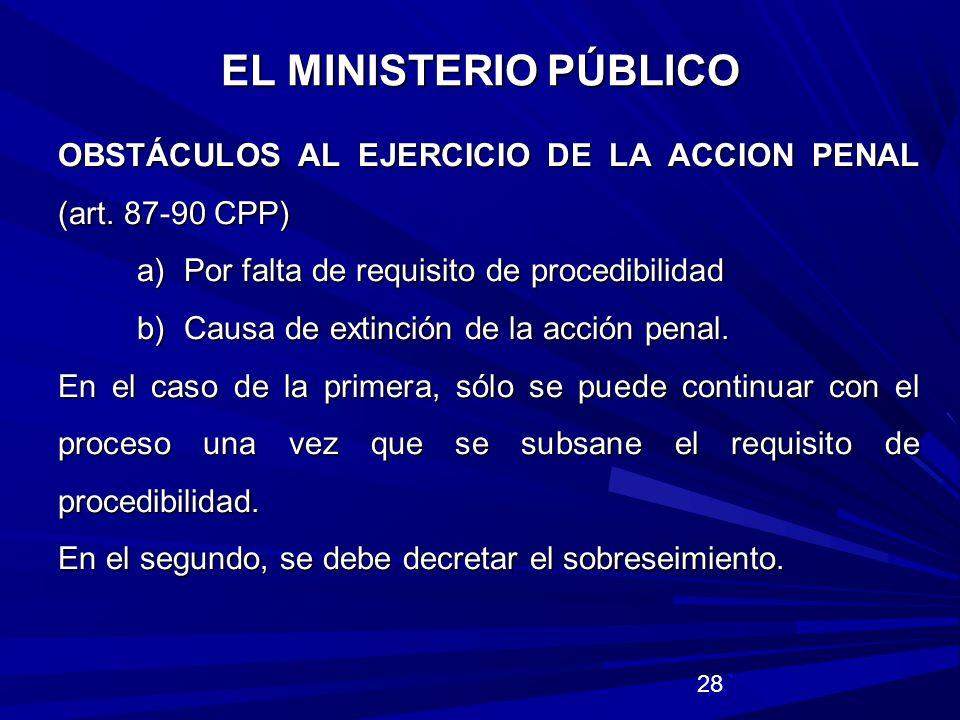 EL MINISTERIO PÚBLICO OBSTÁCULOS AL EJERCICIO DE LA ACCION PENAL (art. 87-90 CPP) a) Por falta de requisito de procedibilidad.