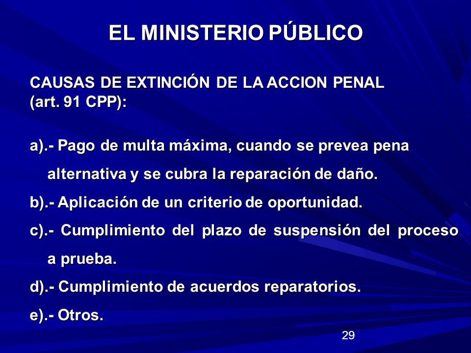 EL MINISTERIO PÚBLICO CAUSAS DE EXTINCIÓN DE LA ACCION PENAL
