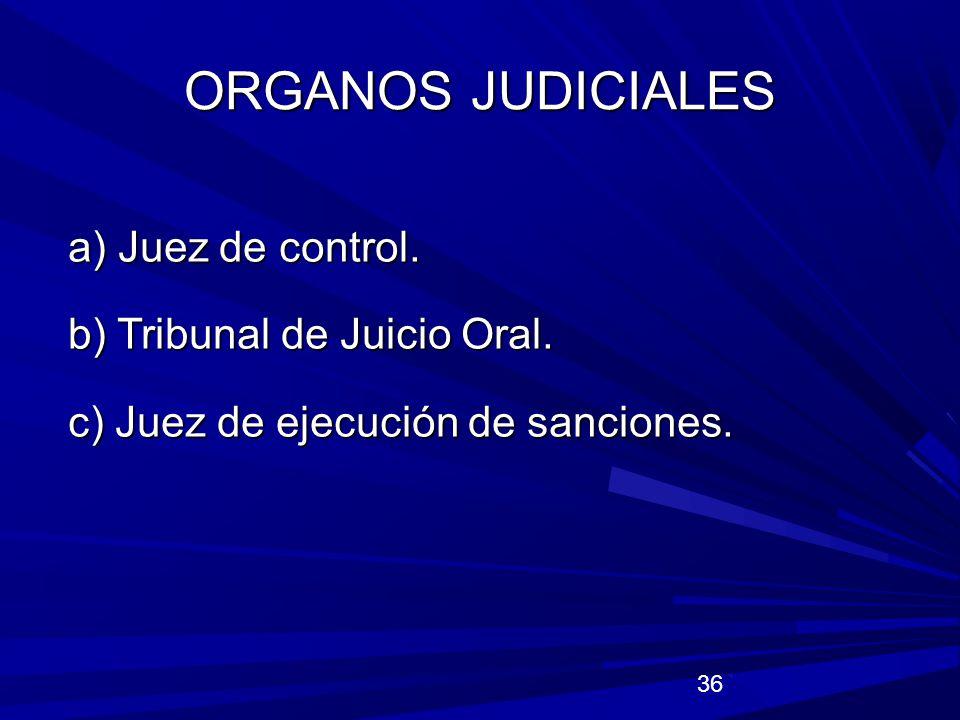 ORGANOS JUDICIALES a) Juez de control. b) Tribunal de Juicio Oral.