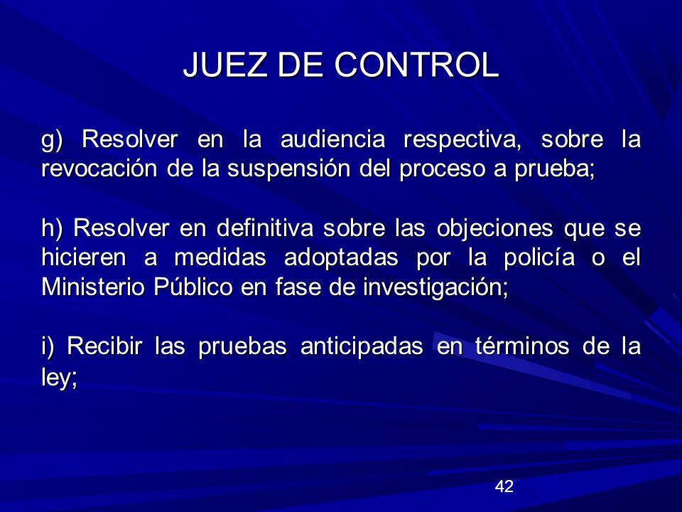 JUEZ DE CONTROL g) Resolver en la audiencia respectiva, sobre la revocación de la suspensión del proceso a prueba;