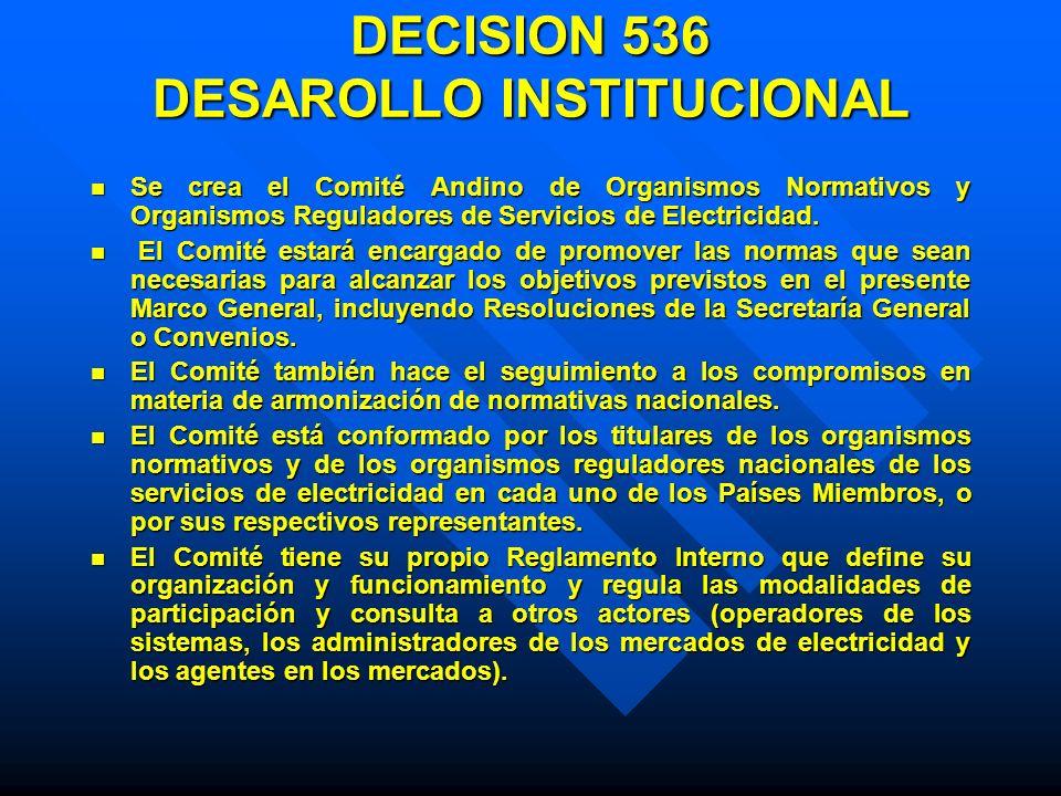 DECISION 536 DESAROLLO INSTITUCIONAL