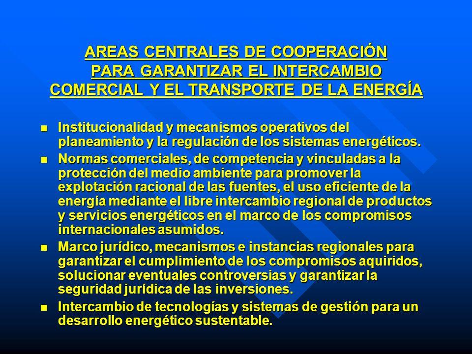 AREAS CENTRALES DE COOPERACIÓN PARA GARANTIZAR EL INTERCAMBIO COMERCIAL Y EL TRANSPORTE DE LA ENERGÍA