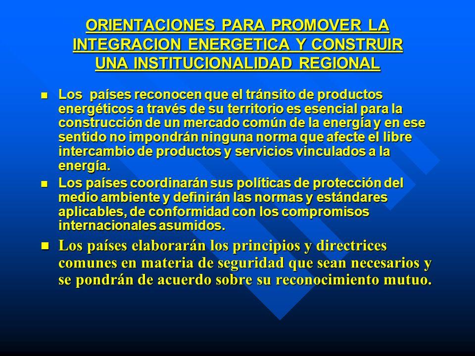 ORIENTACIONES PARA PROMOVER LA INTEGRACION ENERGETICA Y CONSTRUIR UNA INSTITUCIONALIDAD REGIONAL