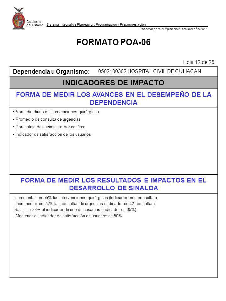 FORMATO POA-06 INDICADORES DE IMPACTO