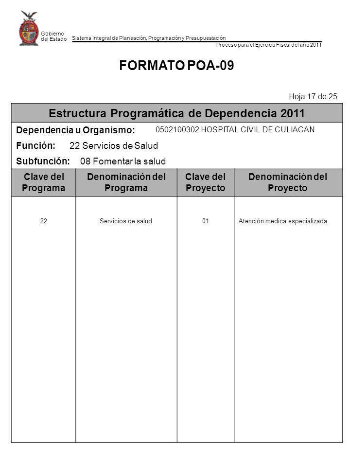 FORMATO POA-09 Estructura Programática de Dependencia 2011
