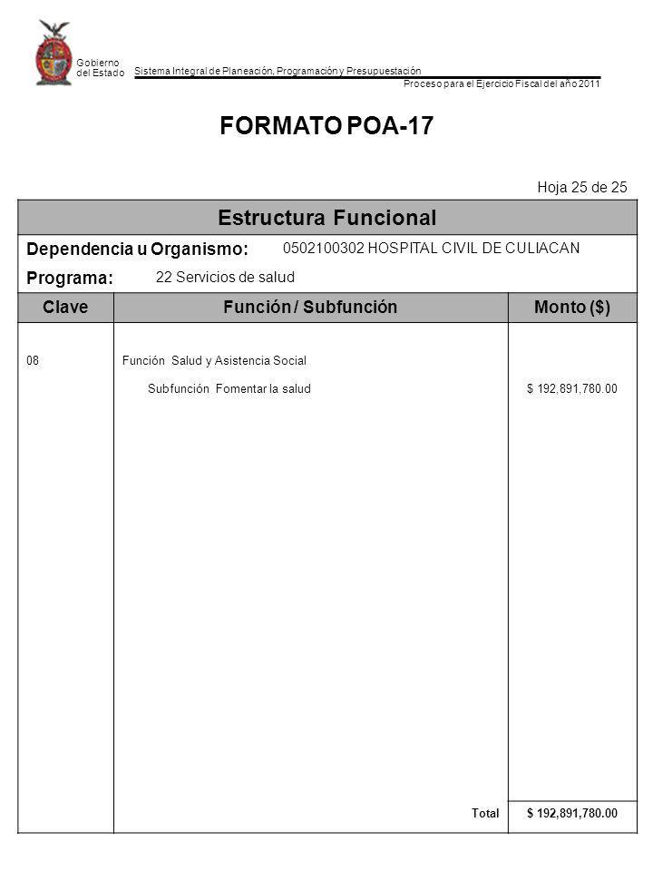 FORMATO POA-17 Estructura Funcional Dependencia u Organismo: Programa: