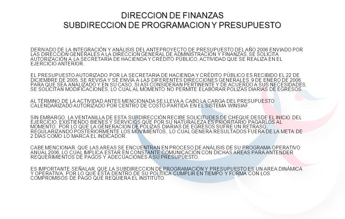 DIRECCION DE FINANZAS SUBDIRECCION DE PROGRAMACION Y PRESUPUESTO
