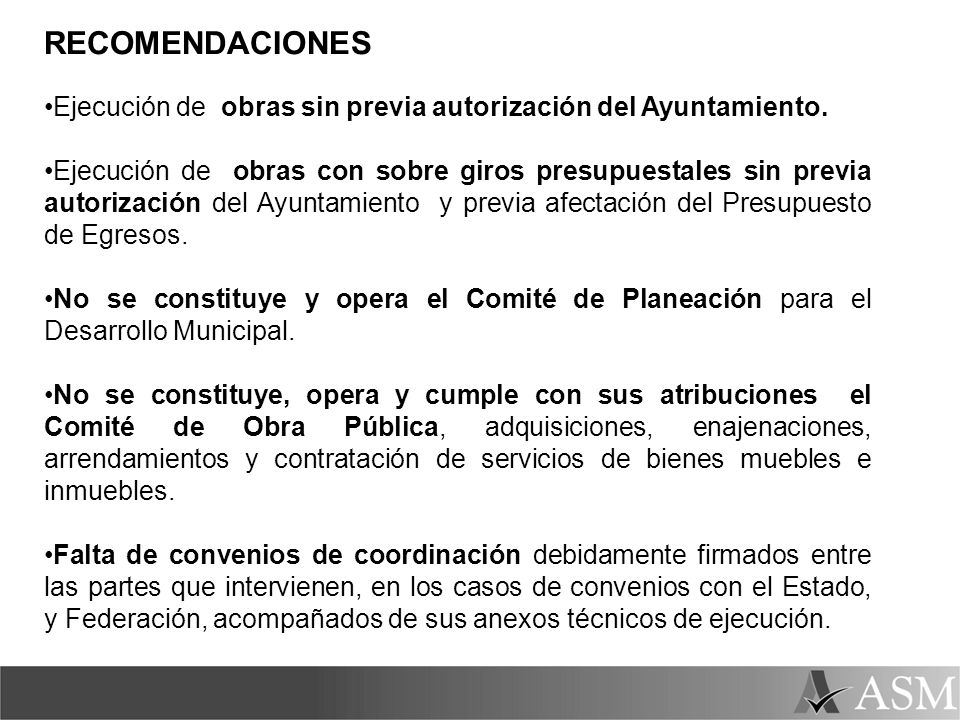 RECOMENDACIONES Ejecución de obras sin previa autorización del Ayuntamiento.