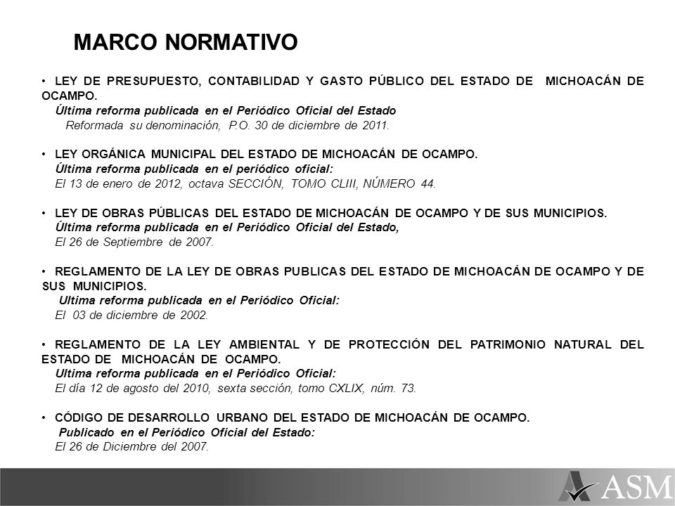 MARCO NORMATIVO LEY DE PRESUPUESTO, CONTABILIDAD Y GASTO PÚBLICO DEL ESTADO DE MICHOACÁN DE OCAMPO.