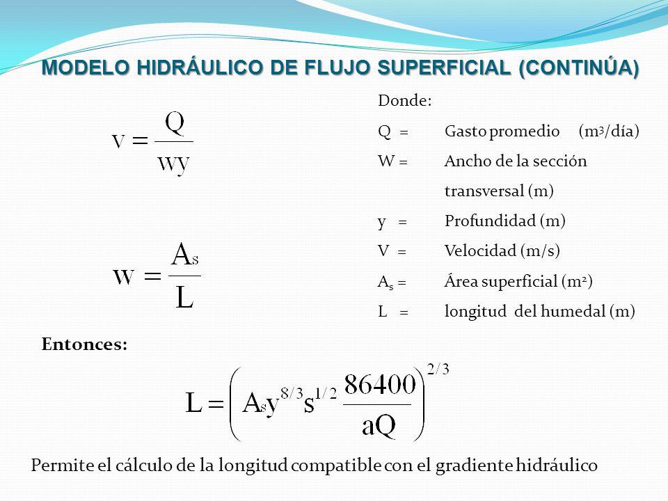 MODELO HIDRÁULICO DE FLUJO SUPERFICIAL (CONTINÚA)