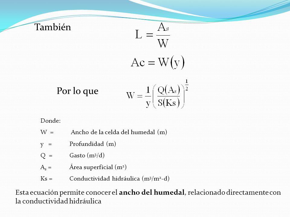También Por lo que. Donde: W = Ancho de la celda del humedal (m) y = Profundidad (m) Q = Gasto (m3/d)