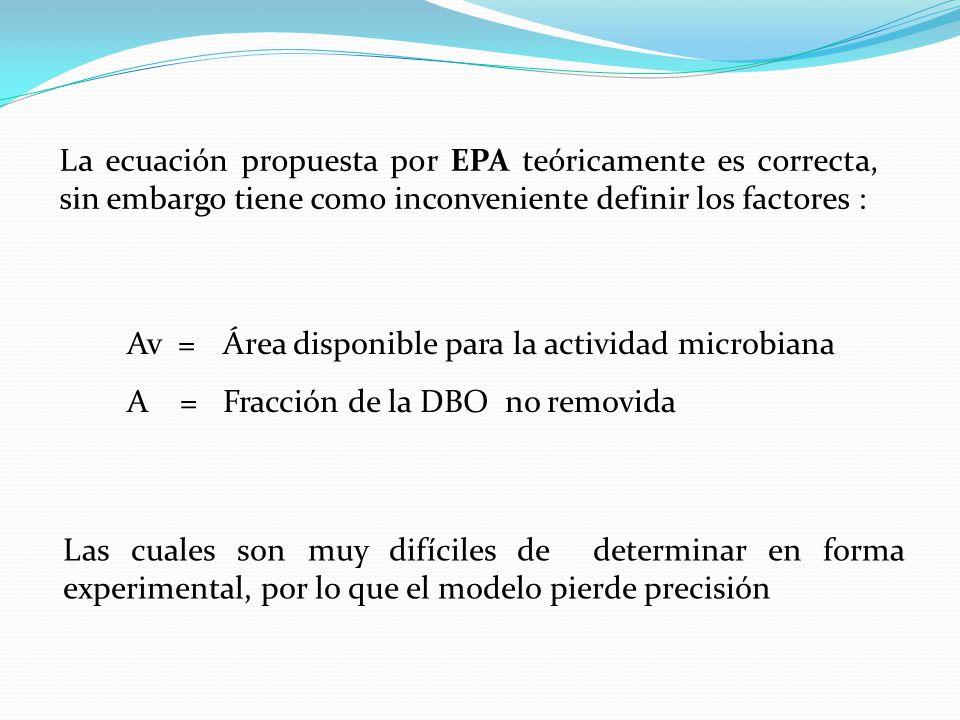 La ecuación propuesta por EPA teóricamente es correcta, sin embargo tiene como inconveniente definir los factores :