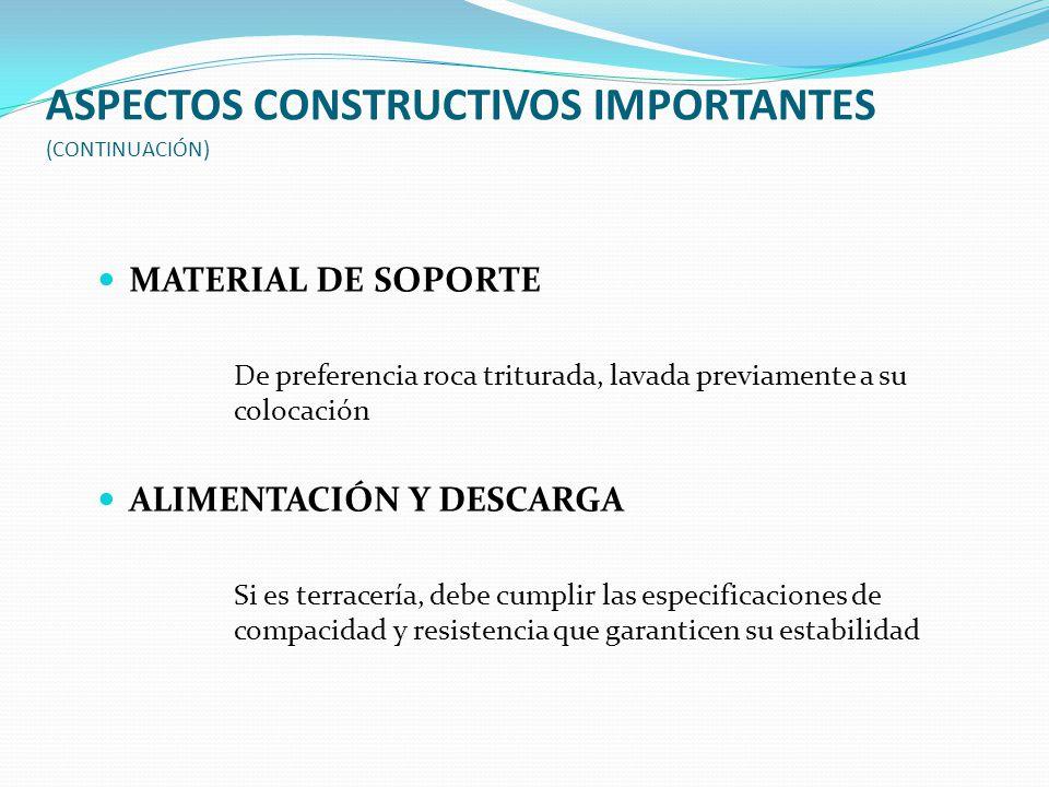 ASPECTOS CONSTRUCTIVOS IMPORTANTES (CONTINUACIÓN)