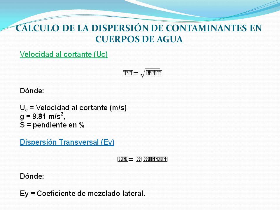 CÁLCULO DE LA DISPERSIÓN DE CONTAMINANTES EN CUERPOS DE AGUA