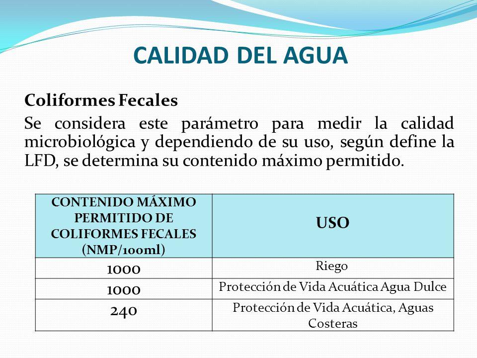 CONTENIDO MÁXIMO PERMITIDO DE COLIFORMES FECALES (NMP/100ml)