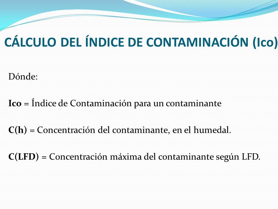 CÁLCULO DEL ÍNDICE DE CONTAMINACIÓN (Ico)