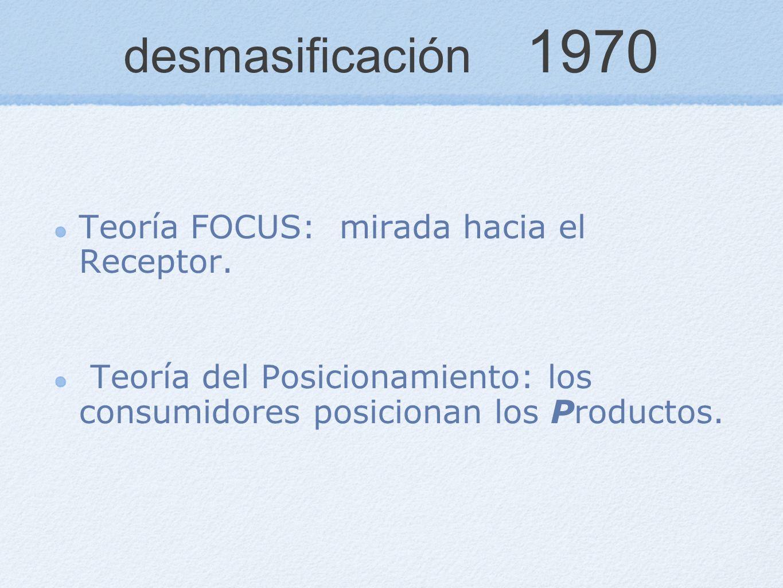 desmasificación 1970 Teoría FOCUS: mirada hacia el Receptor.