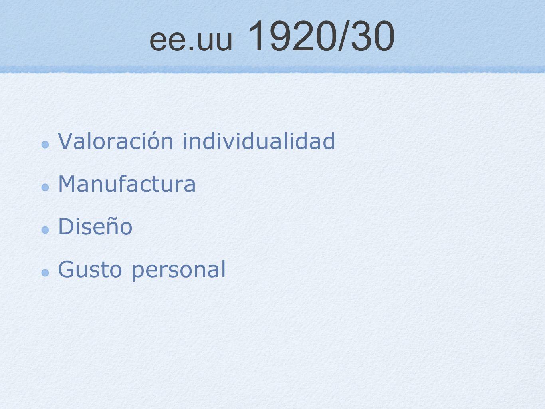 ee.uu 1920/30 Valoración individualidad Manufactura Diseño