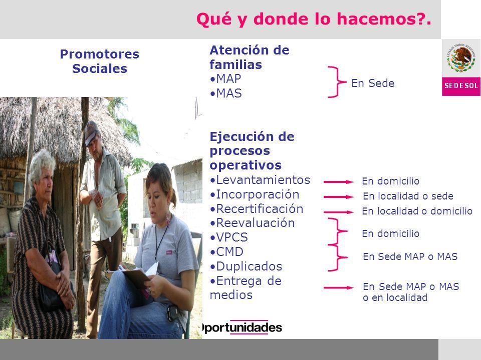 Qué y donde lo hacemos . Atención de familias Promotores Sociales MAP