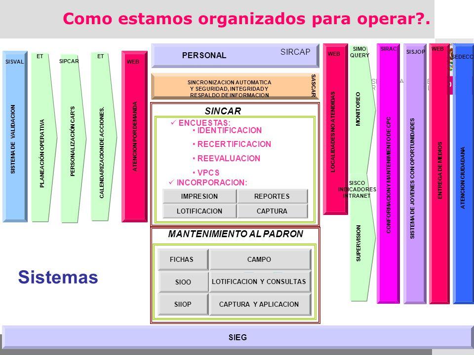 Sistemas Como estamos organizados para operar . SINCAR