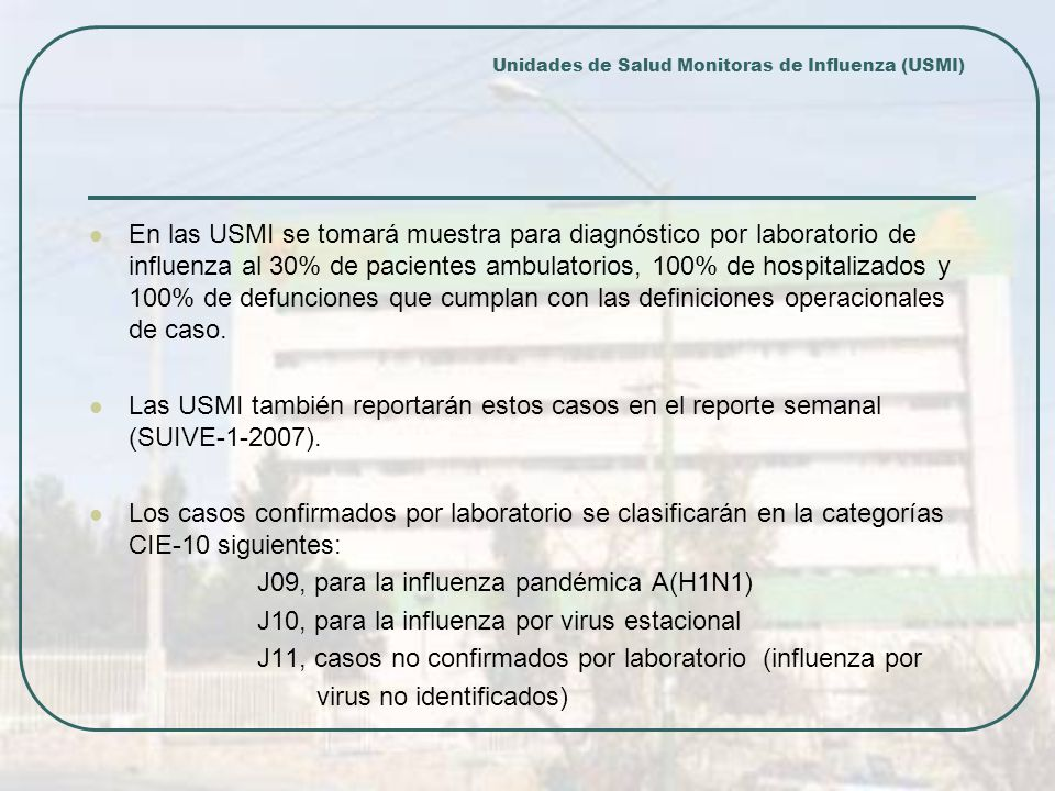 Unidades de Salud Monitoras de Influenza (USMI)
