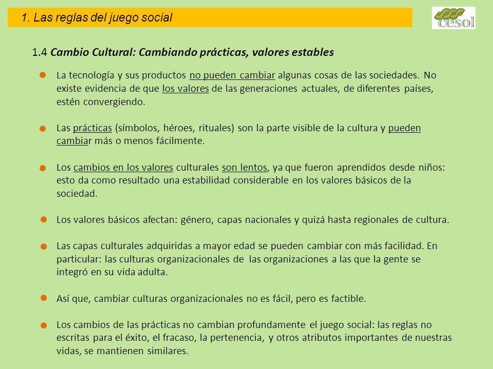 1.4 Cambio Cultural: Cambiando prácticas, valores estables