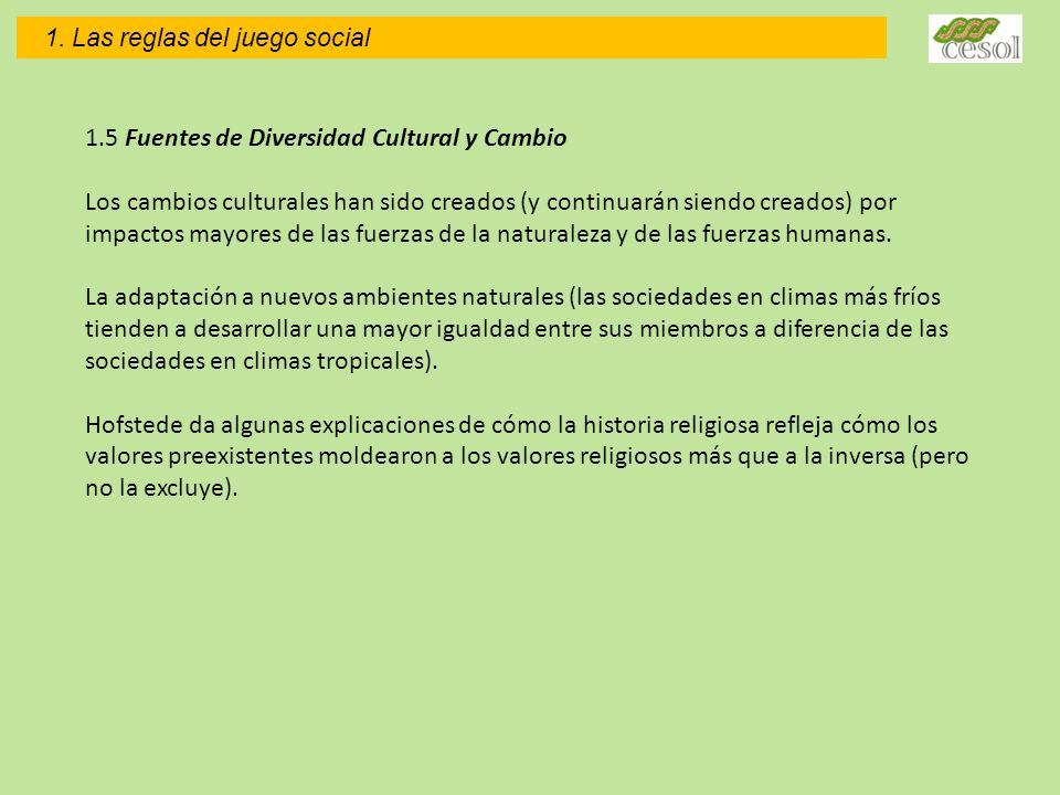 1.5 Fuentes de Diversidad Cultural y Cambio
