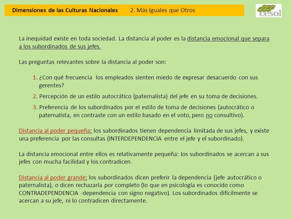 Dimensiones de las Culturas Nacionales 2. Más Iguales que Otros