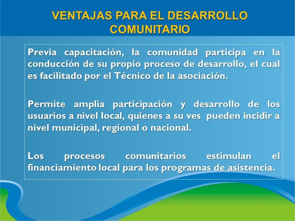 VENTAJAS PARA EL DESARROLLO COMUNITARIO