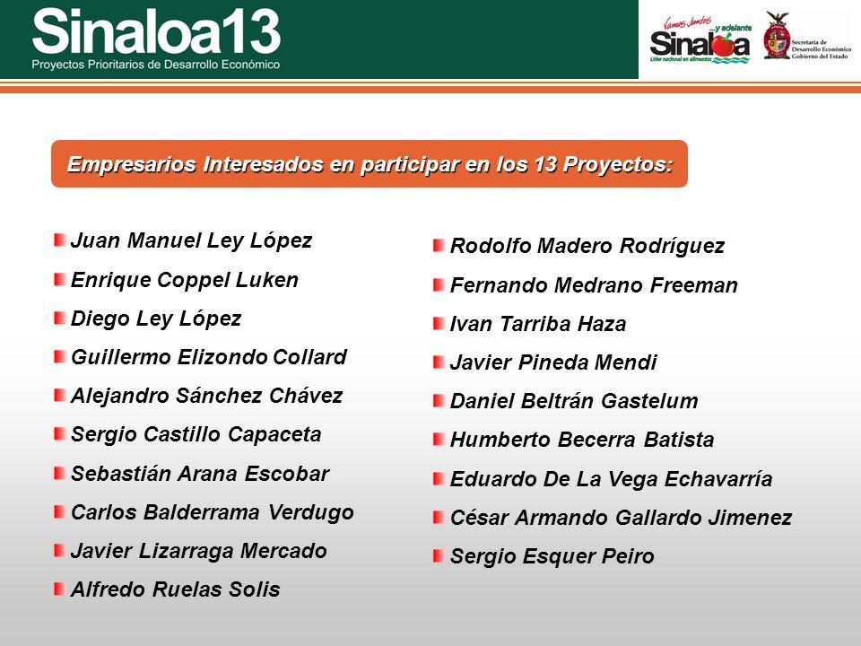 Empresarios Interesados en participar en los 13 Proyectos: