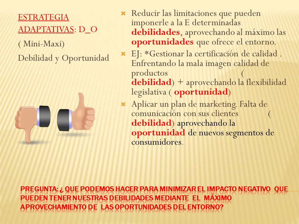 ESTRATEGIA ADAPTATIVAS: D_O ( Mini-Maxi) Debilidad y Oportunidad
