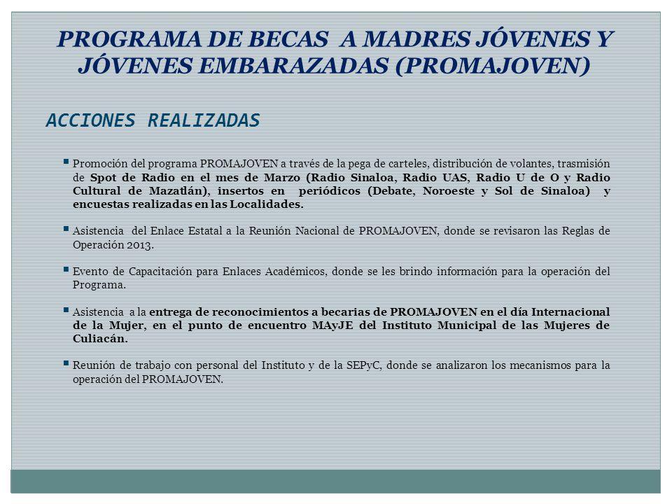 PROGRAMA DE BECAS A MADRES JÓVENES Y JÓVENES EMBARAZADAS (PROMAJOVEN)