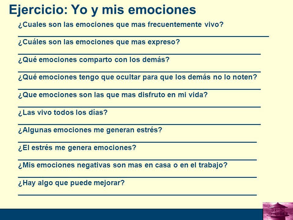 Ejercicio: Yo y mis emociones