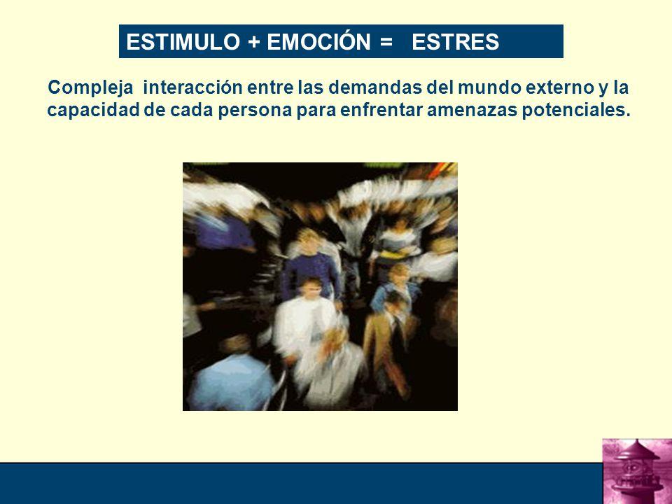 ESTIMULO + EMOCIÓN = ESTRES