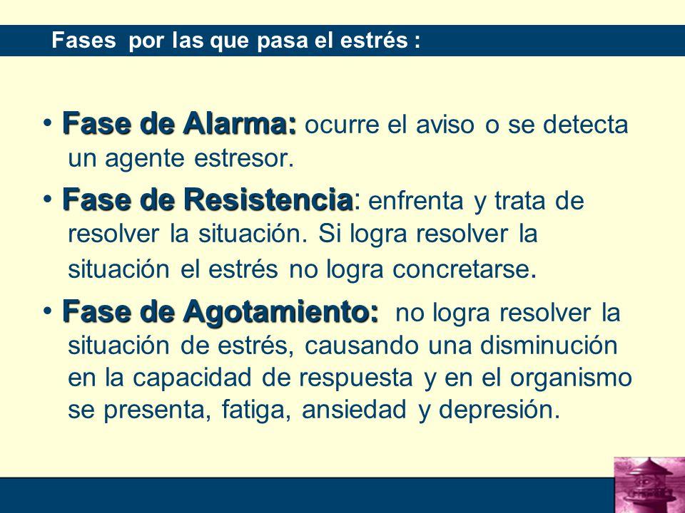 • Fase de Alarma: ocurre el aviso o se detecta un agente estresor.