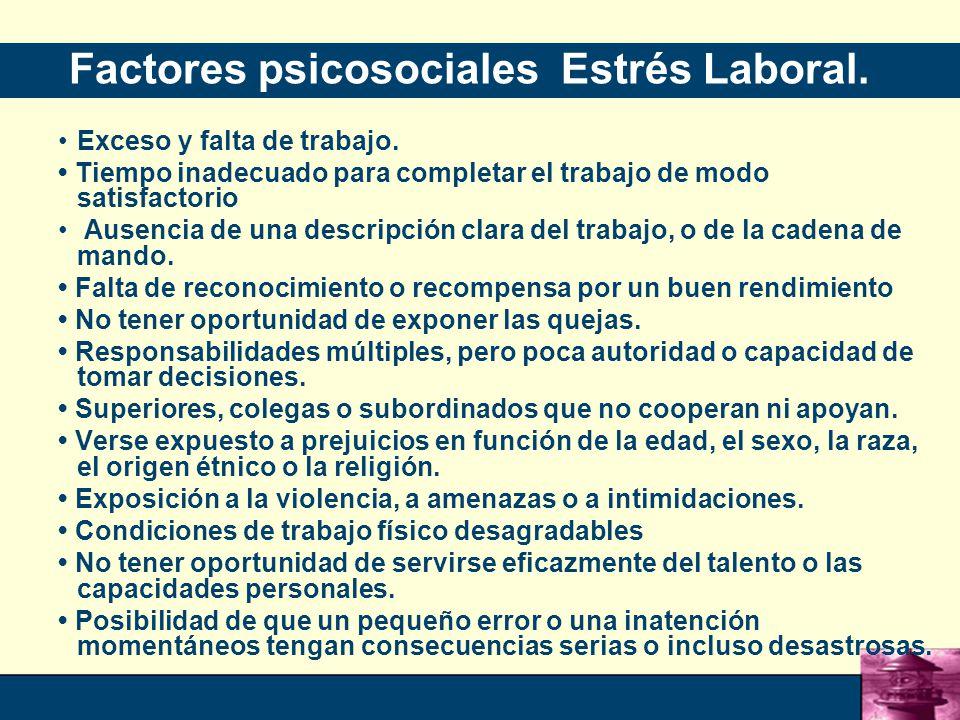 Factores psicosociales Estrés Laboral.