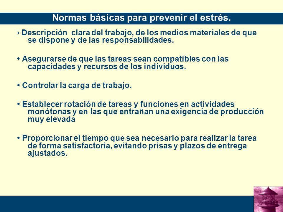 Normas básicas para prevenir el estrés.
