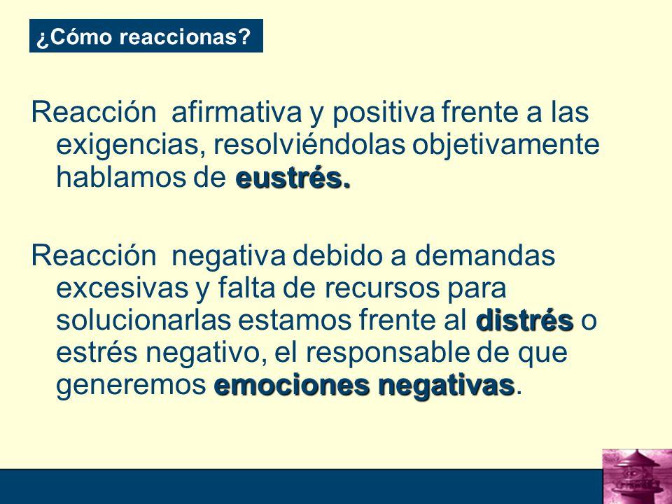 ¿Cómo reaccionas Reacción afirmativa y positiva frente a las exigencias, resolviéndolas objetivamente hablamos de eustrés.