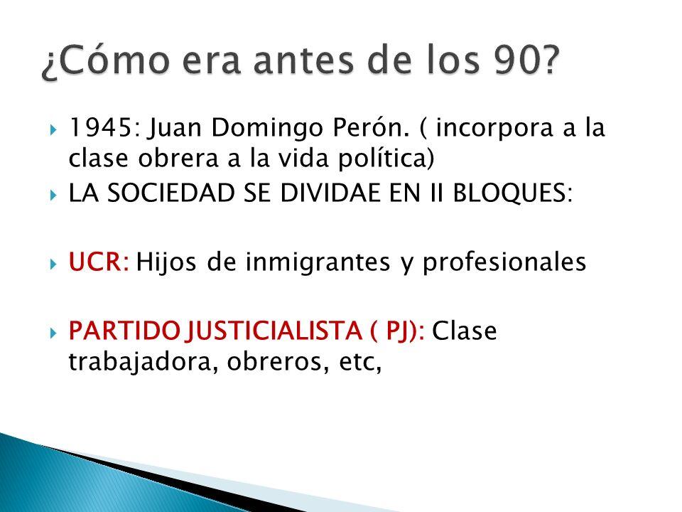 ¿Cómo era antes de los 90 1945: Juan Domingo Perón. ( incorpora a la clase obrera a la vida política)