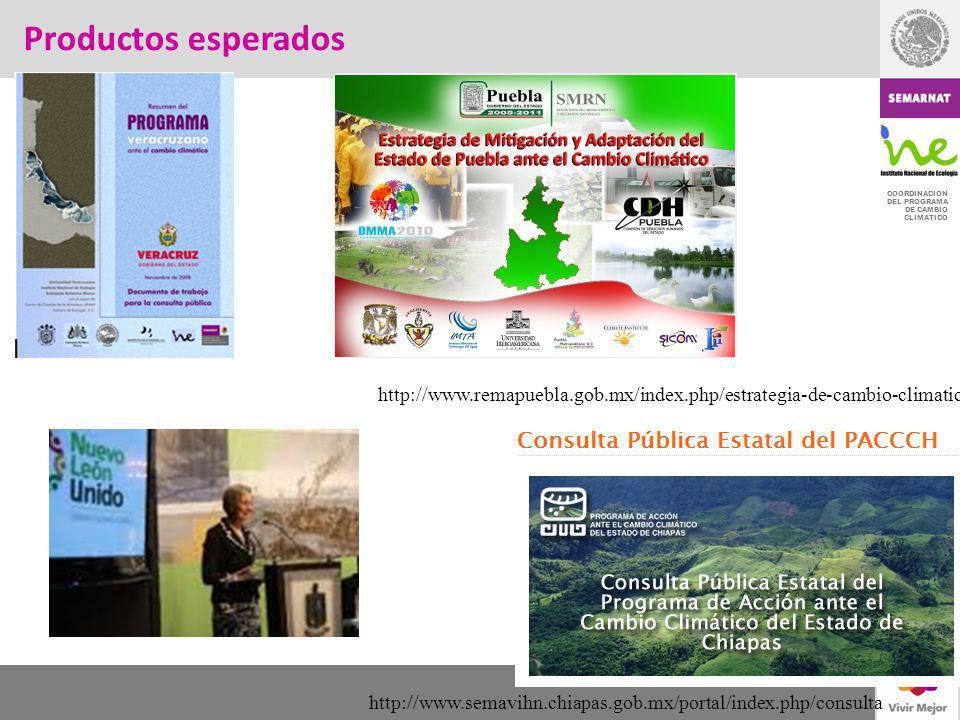 Productos esperados http://www.remapuebla.gob.mx/index.php/estrategia-de-cambio-climatico.