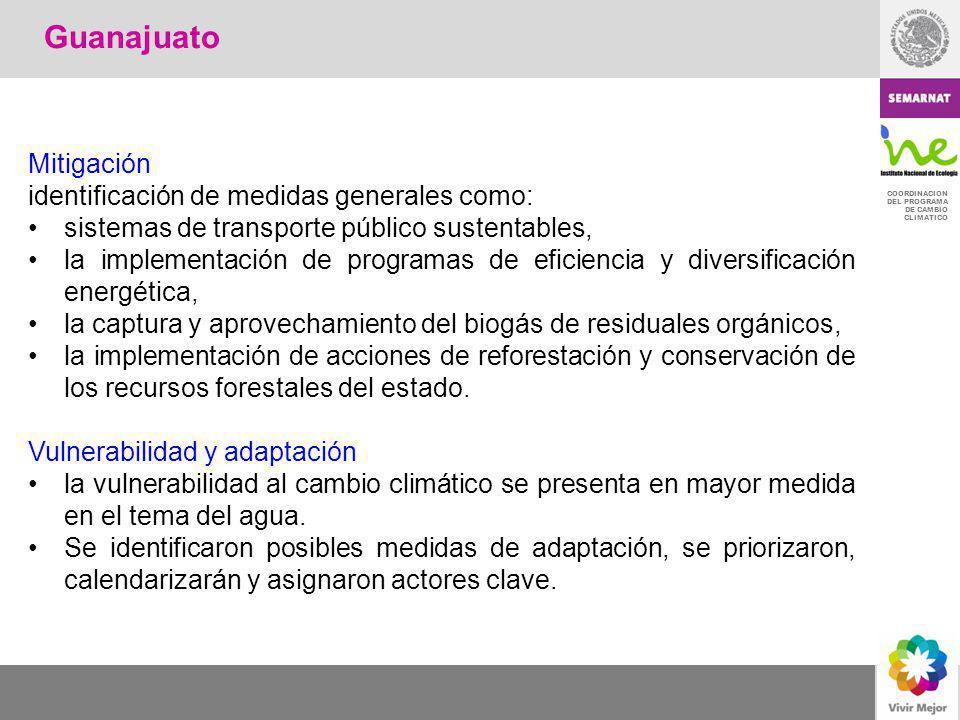 Guanajuato Mitigación identificación de medidas generales como: