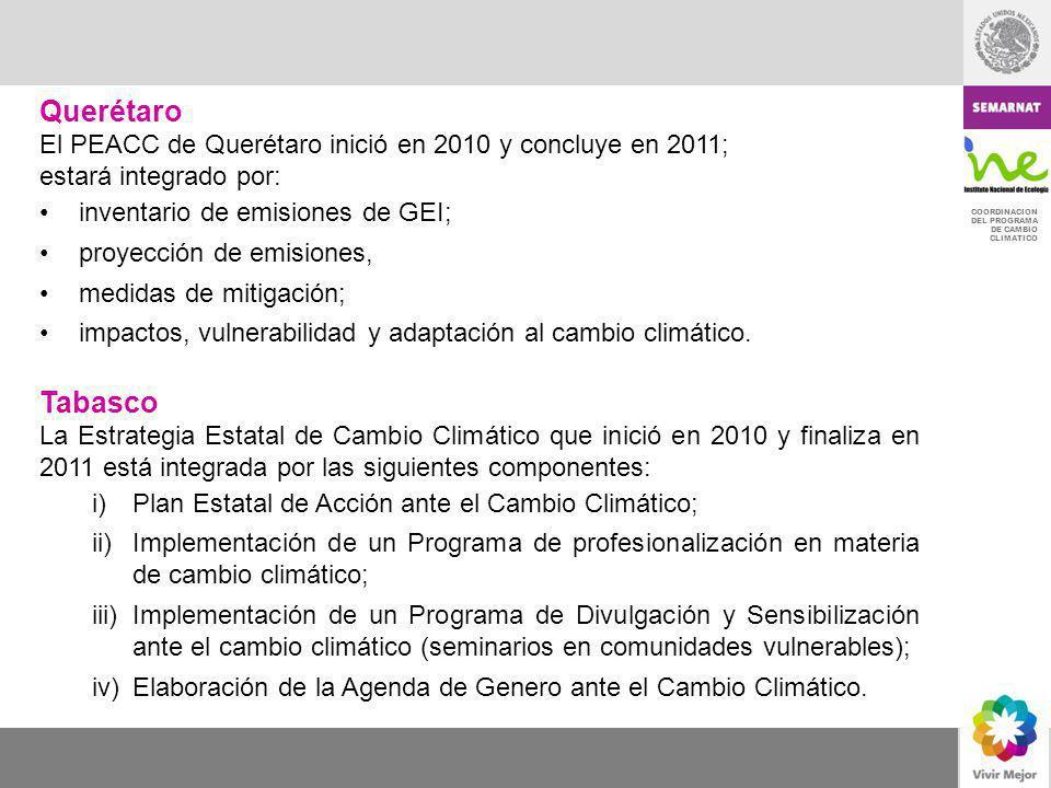 Querétaro El PEACC de Querétaro inició en 2010 y concluye en 2011; estará integrado por: inventario de emisiones de GEI;