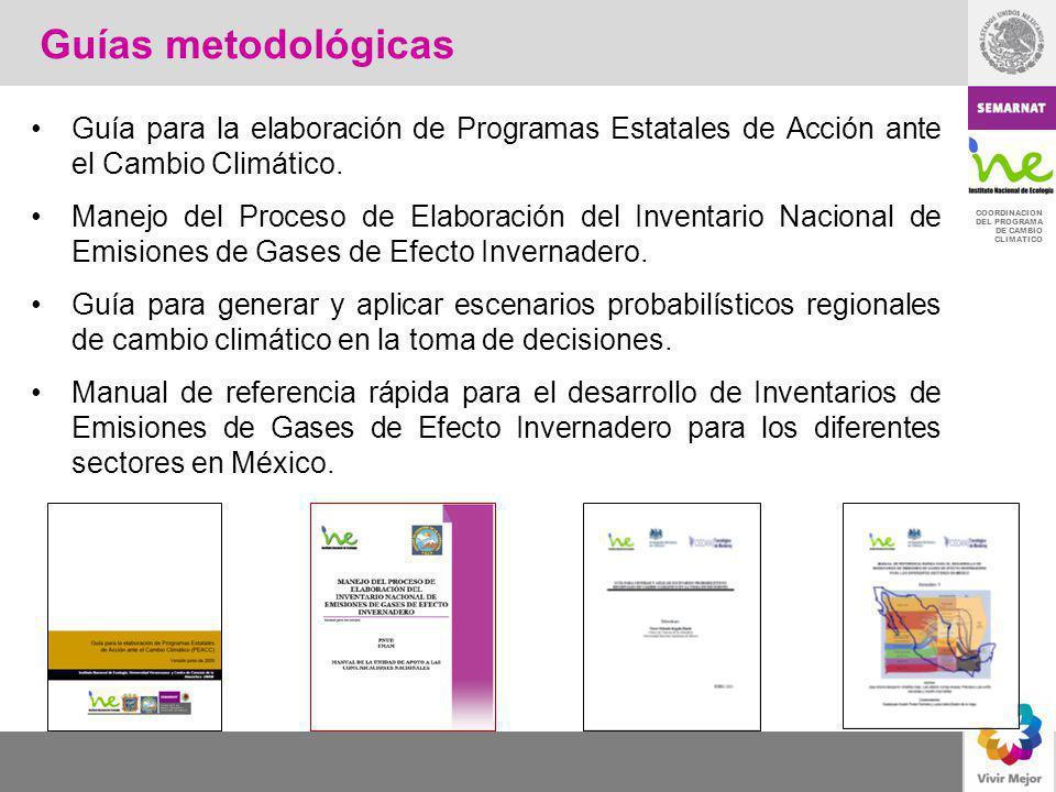 Guías metodológicas Guía para la elaboración de Programas Estatales de Acción ante el Cambio Climático.
