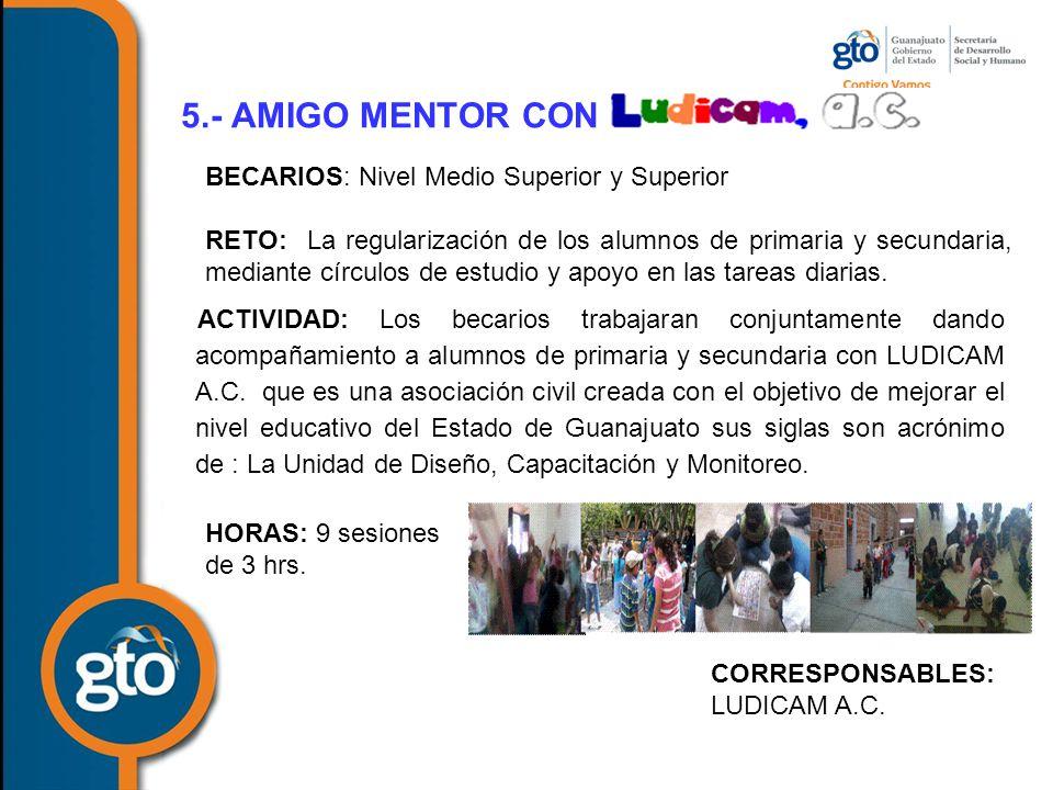 5.- AMIGO MENTOR CON BECARIOS: Nivel Medio Superior y Superior
