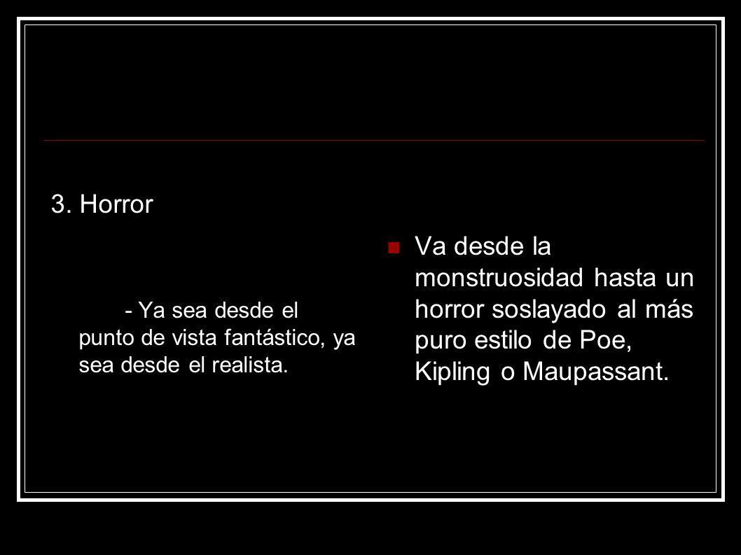 3. Horror - Ya sea desde el punto de vista fantástico, ya sea desde el realista.