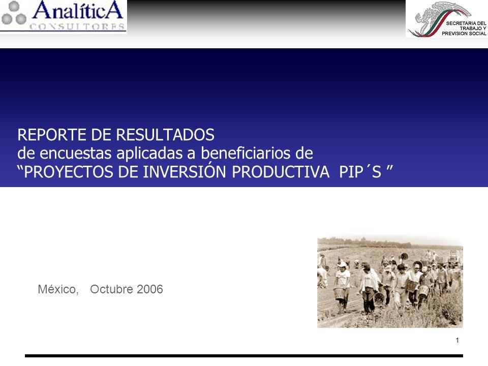 REPORTE DE RESULTADOS de encuestas aplicadas a beneficiarios de PROYECTOS DE INVERSIÓN PRODUCTIVA PIP´S