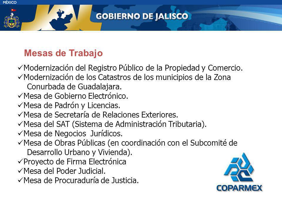 Mesas de Trabajo Modernización del Registro Público de la Propiedad y Comercio. Modernización de los Catastros de los municipios de la Zona.
