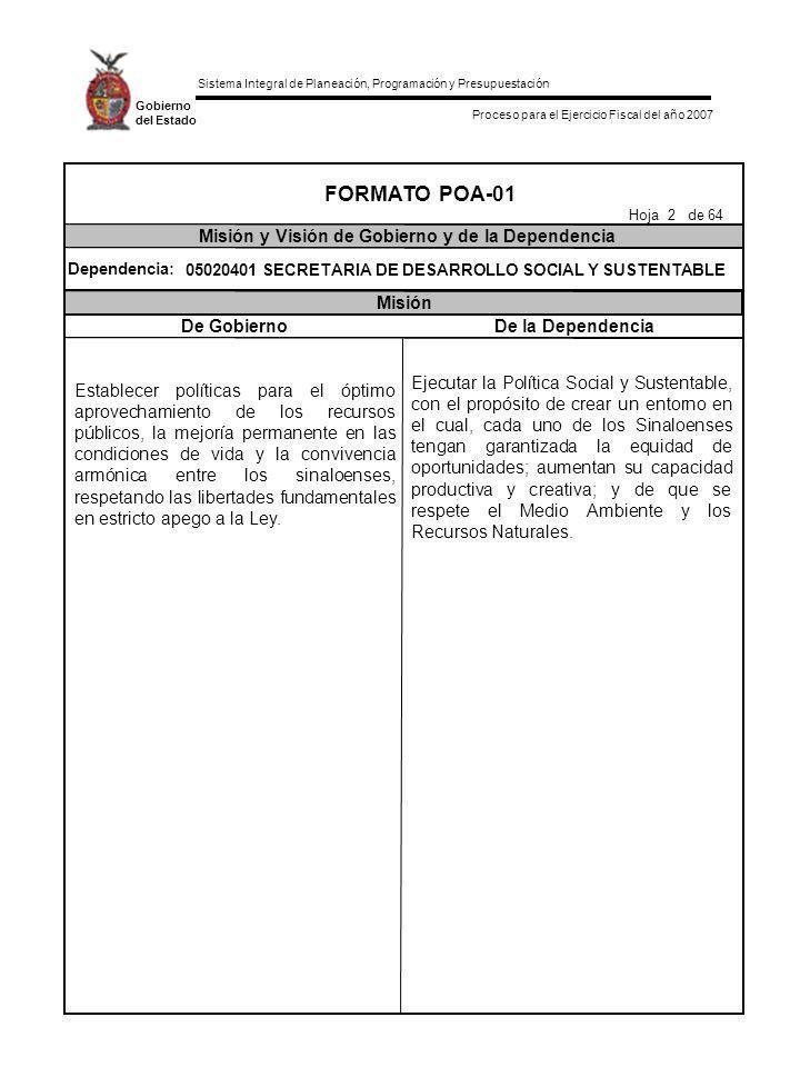 FORMATO POA-01 Misión y Visión de Gobierno y de la Dependencia Misión